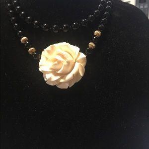 Vintage Black onyx and ivory flower